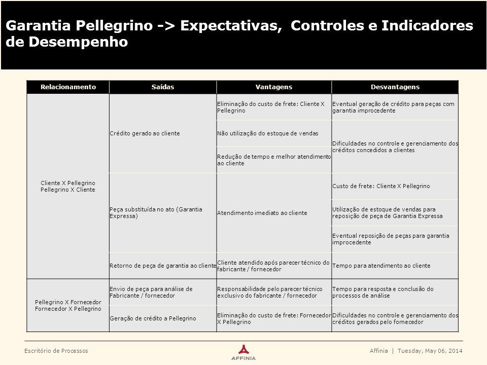Garantia Pellegrino -> Expectativas, Controles e Indicadores de Desempenho