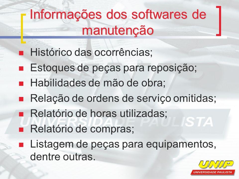 Informações dos softwares de manutenção