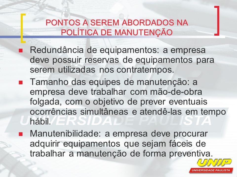 PONTOS A SEREM ABORDADOS NA POLÍTICA DE MANUTENÇÃO