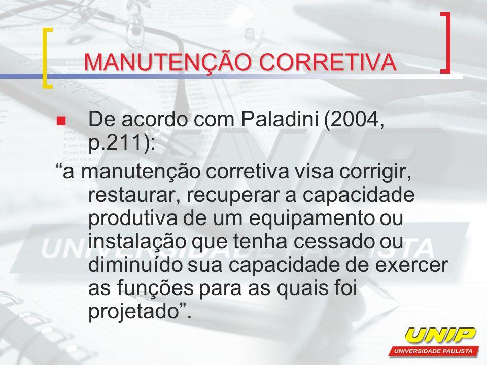 MANUTENÇÃO CORRETIVA De acordo com Paladini (2004, p.211):