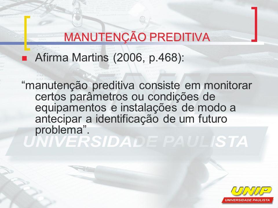 MANUTENÇÃO PREDITIVA Afirma Martins (2006, p.468):