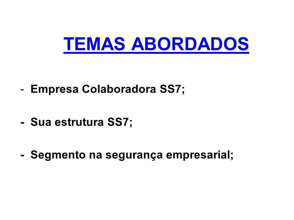 TEMAS ABORDADOS - Empresa Colaboradora SS7; - Sua estrutura SS7;