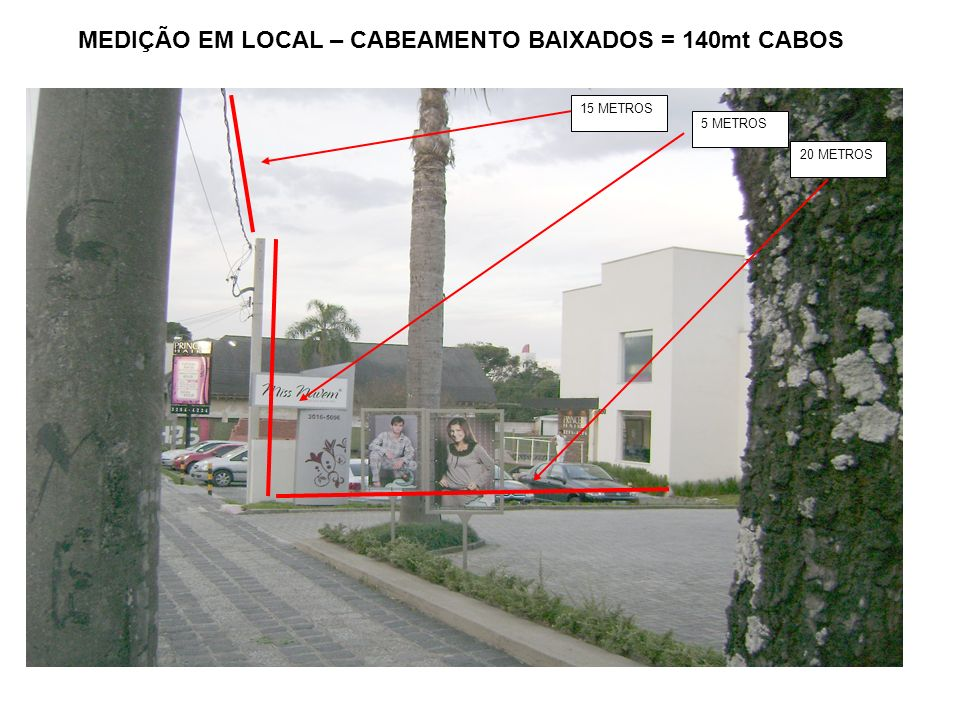 MEDIÇÃO EM LOCAL – CABEAMENTO BAIXADOS = 140mt CABOS