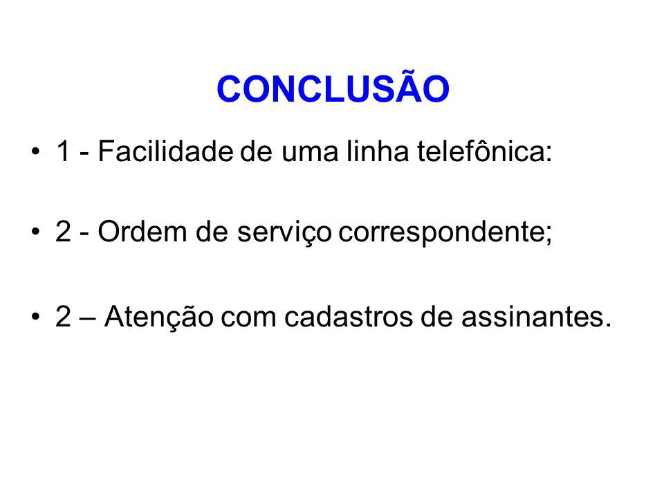CONCLUSÃO 1 - Facilidade de uma linha telefônica: