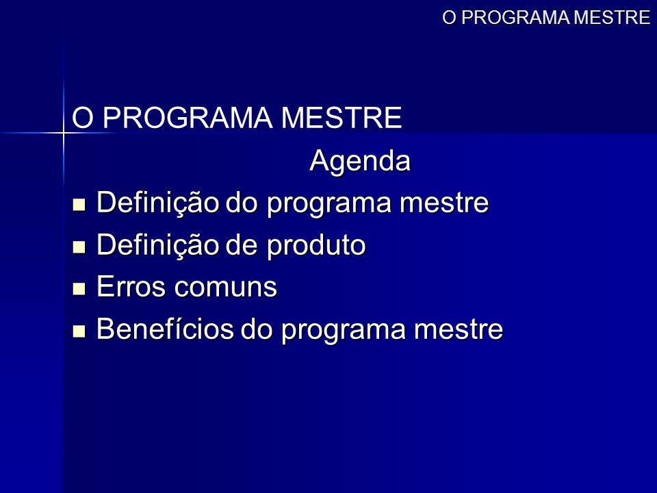 Definição do programa mestre Definição de produto Erros comuns