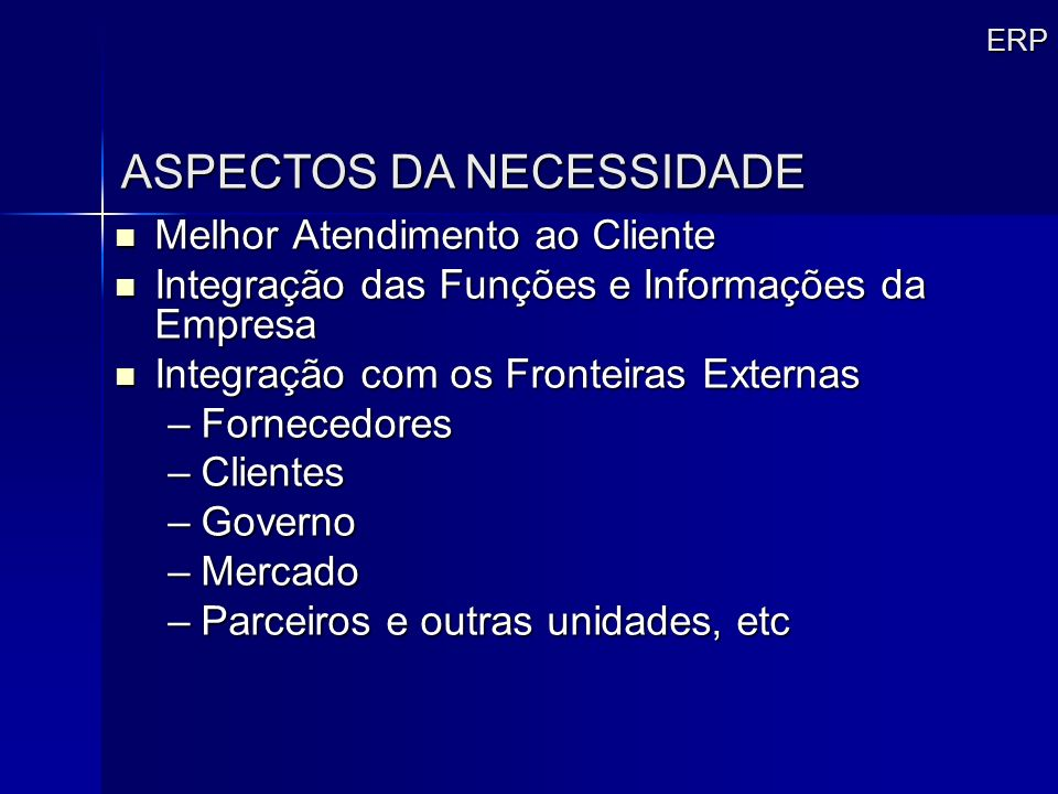 ASPECTOS DA NECESSIDADE