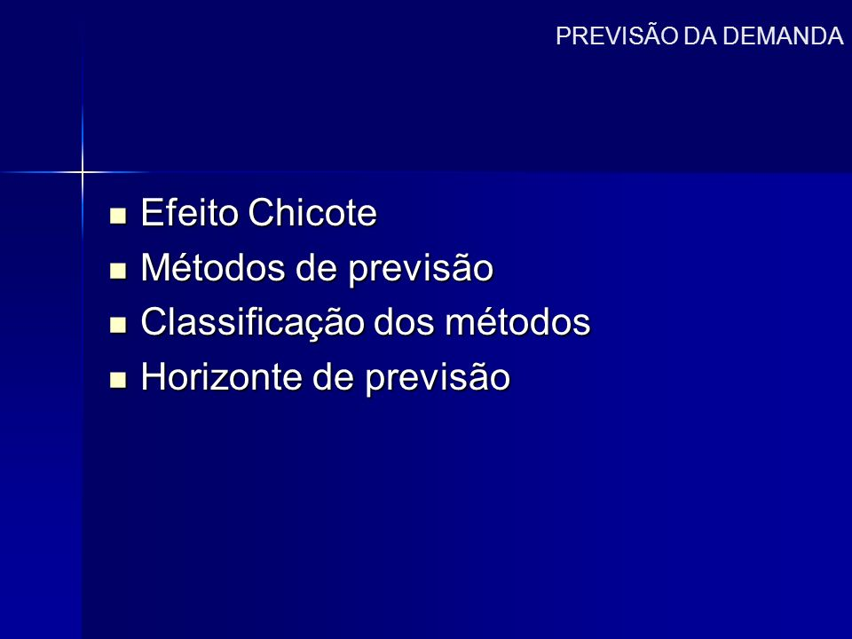 Classificação dos métodos Horizonte de previsão
