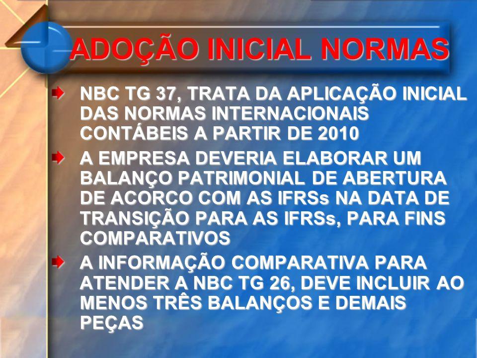 ADOÇÃO INICIAL NORMAS NBC TG 37, TRATA DA APLICAÇÃO INICIAL DAS NORMAS INTERNACIONAIS CONTÁBEIS A PARTIR DE 2010.