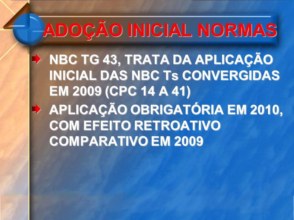 ADOÇÃO INICIAL NORMAS NBC TG 43, TRATA DA APLICAÇÃO INICIAL DAS NBC Ts CONVERGIDAS EM 2009 (CPC 14 A 41)