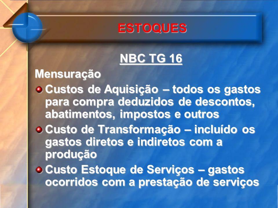 ESTOQUES NBC TG 16 Mensuração