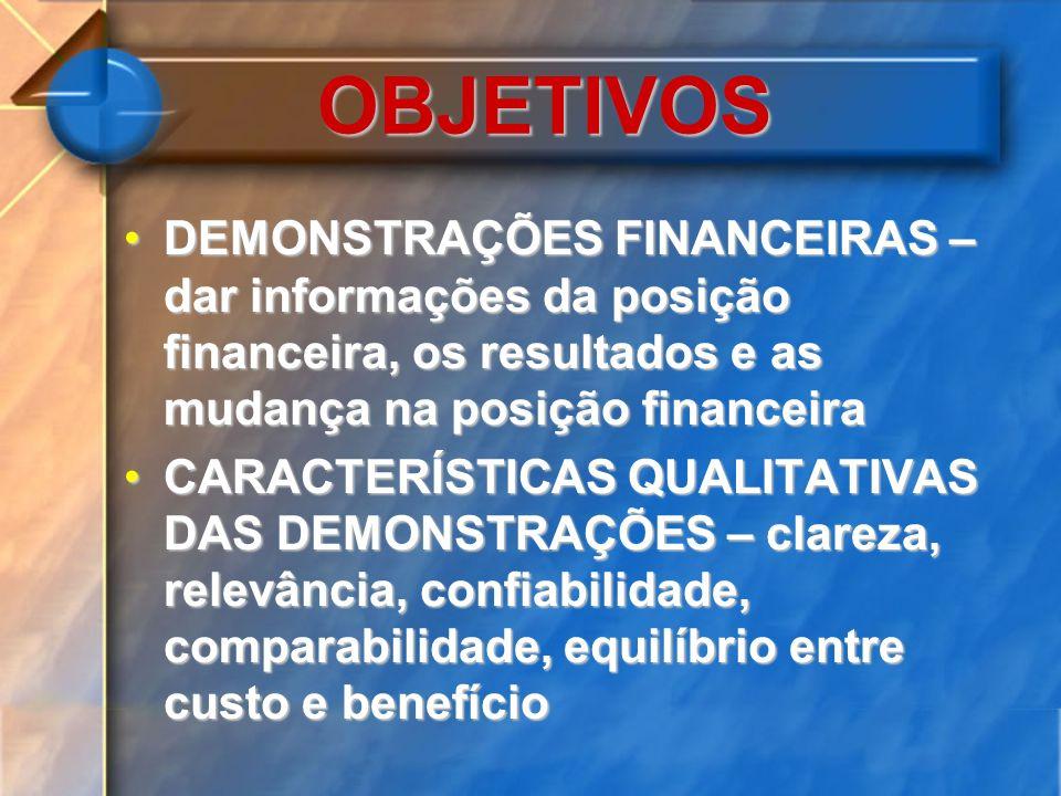 OBJETIVOS DEMONSTRAÇÕES FINANCEIRAS – dar informações da posição financeira, os resultados e as mudança na posição financeira.