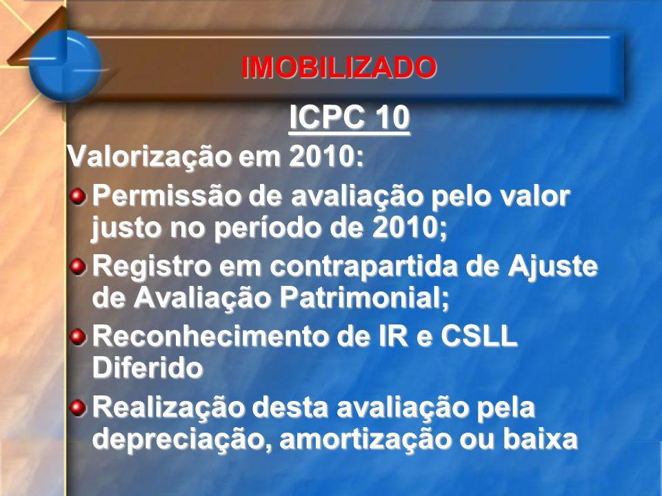 ICPC 10 IMOBILIZADO Valorização em 2010:
