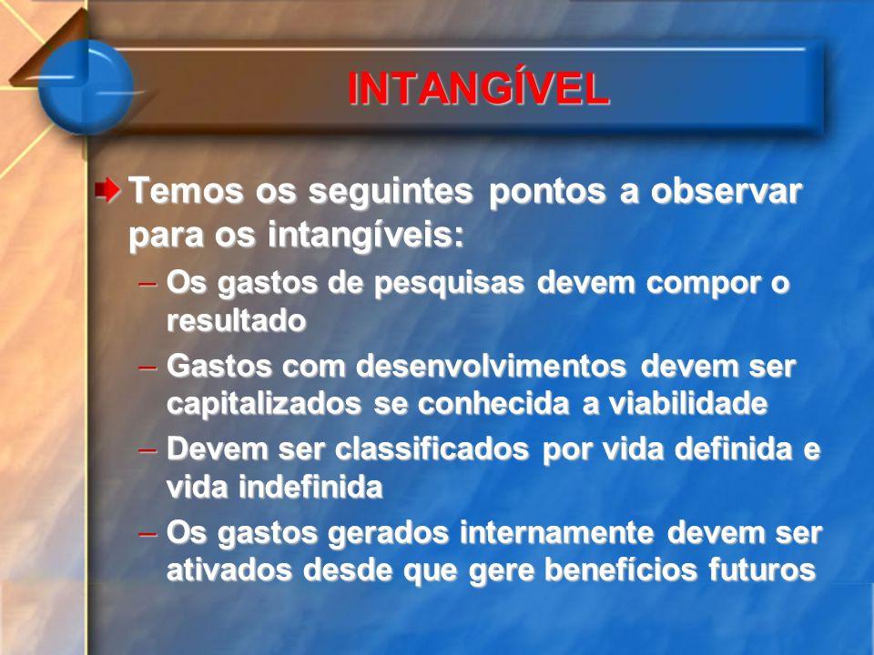 INTANGÍVEL Temos os seguintes pontos a observar para os intangíveis: