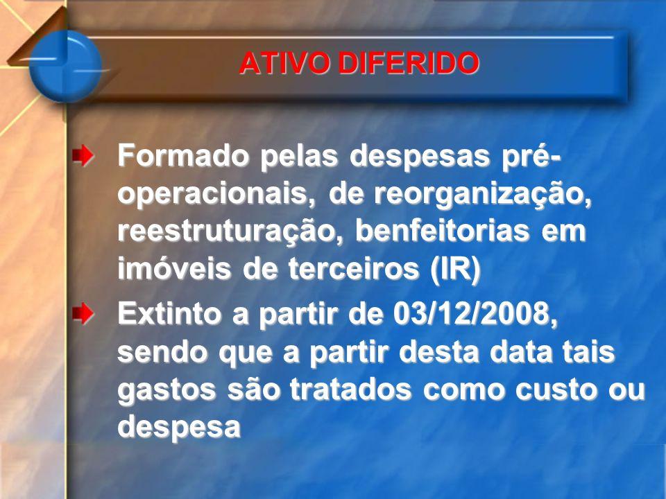 ATIVO DIFERIDO Formado pelas despesas pré-operacionais, de reorganização, reestruturação, benfeitorias em imóveis de terceiros (IR)