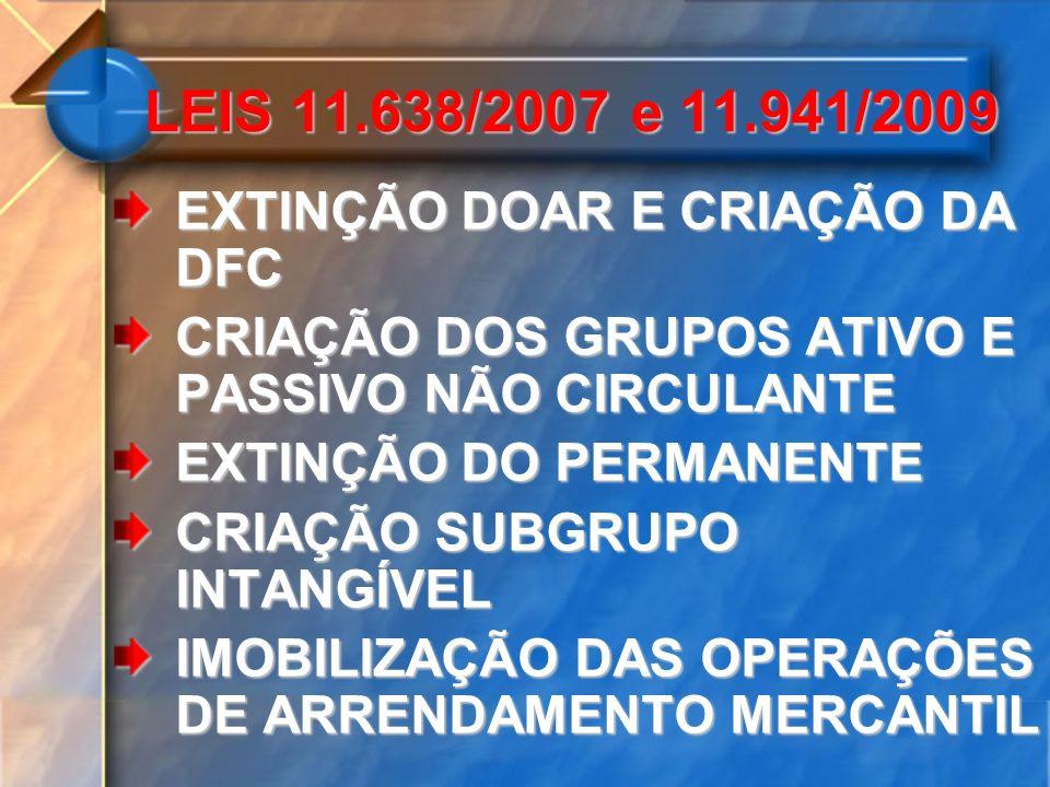 LEIS 11.638/2007 e 11.941/2009 EXTINÇÃO DOAR E CRIAÇÃO DA DFC