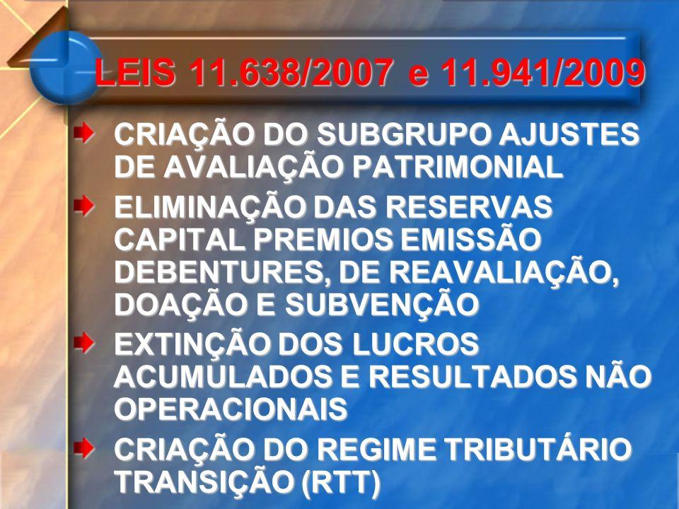 LEIS 11.638/2007 e 11.941/2009 CRIAÇÃO DO SUBGRUPO AJUSTES DE AVALIAÇÃO PATRIMONIAL.