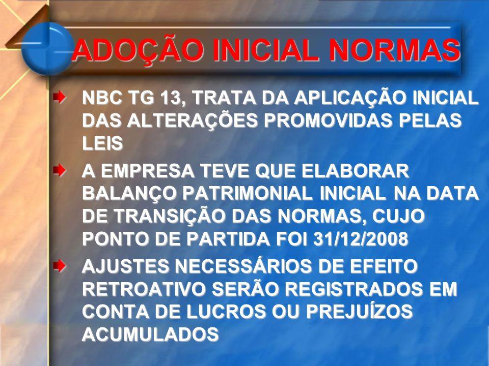 ADOÇÃO INICIAL NORMAS NBC TG 13, TRATA DA APLICAÇÃO INICIAL DAS ALTERAÇÕES PROMOVIDAS PELAS LEIS.