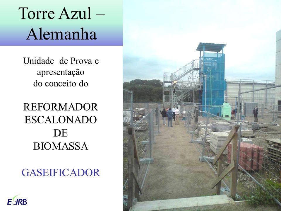Torre Azul – Alemanha Unidade de Prova e apresentação do conceito do REFORMADOR ESCALONADO DE BIOMASSA GASEIFICADOR.