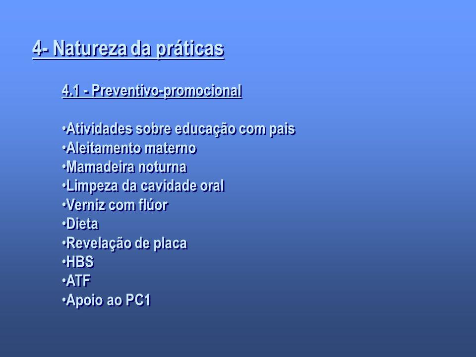 4- Natureza da práticas 4.1 - Preventivo-promocional