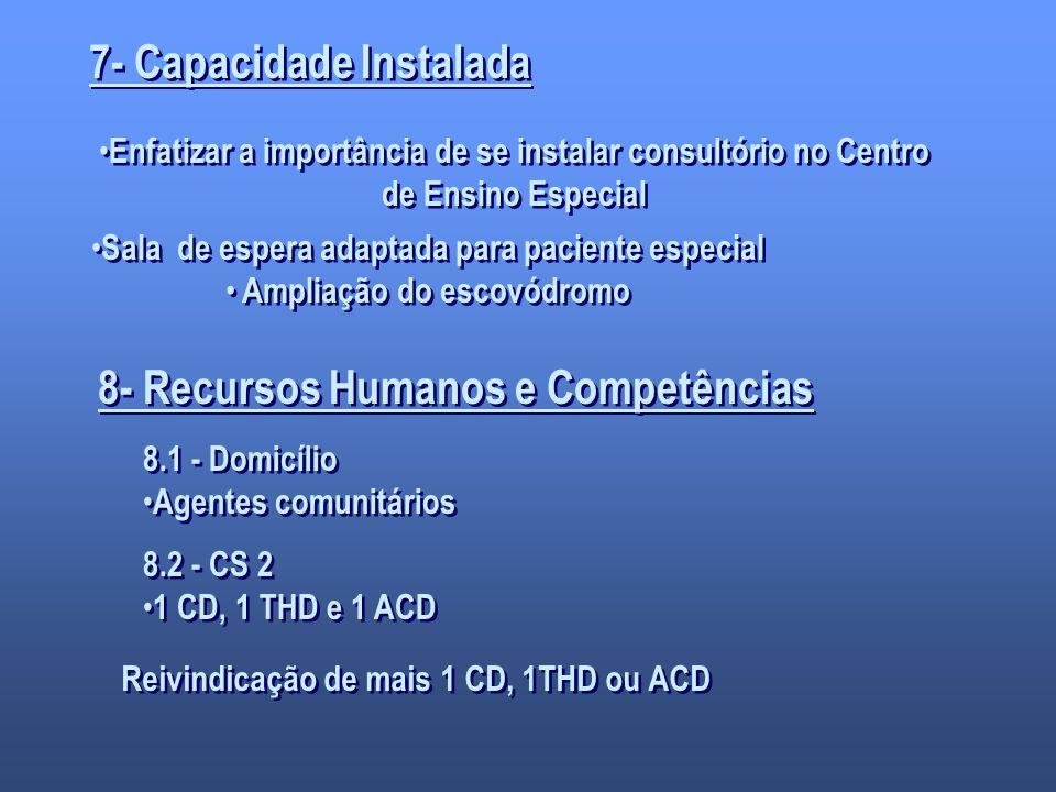 7- Capacidade Instalada 8- Recursos Humanos e Competências