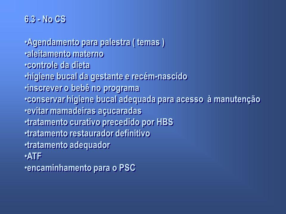 6.3 - No CS Agendamento para palestra ( temas ) aleitamento materno. controle da dieta. higiene bucal da gestante e recém-nascido.