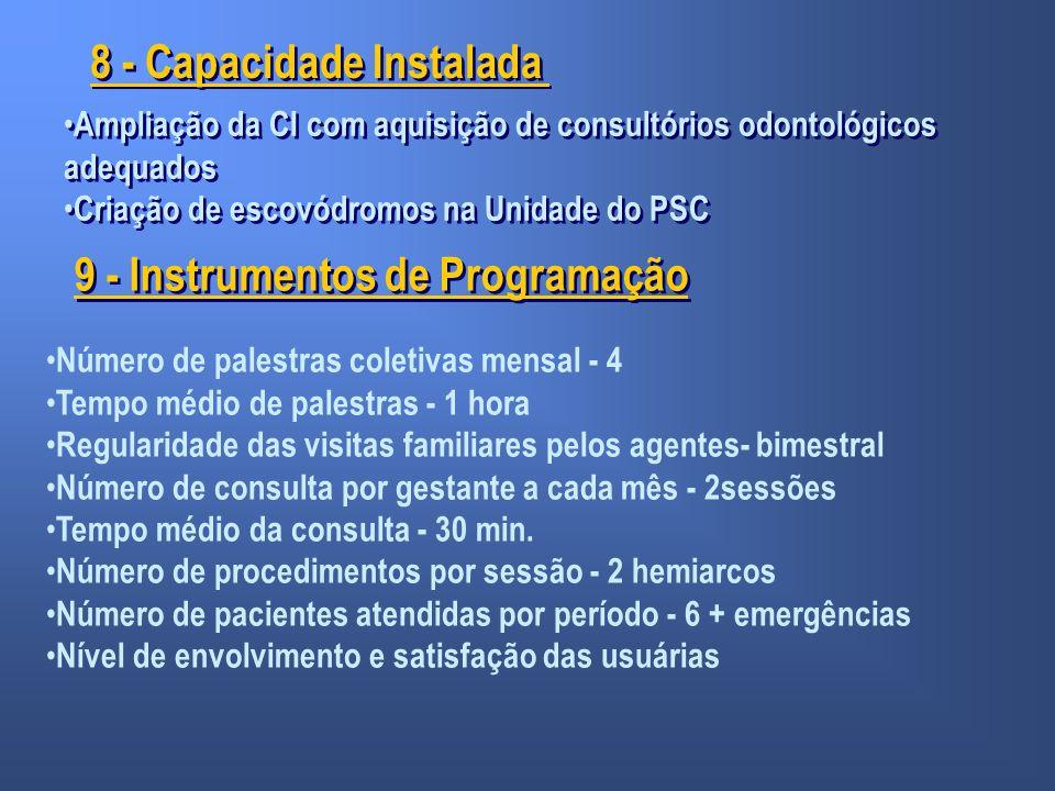 8 - Capacidade Instalada 9 - Instrumentos de Programação