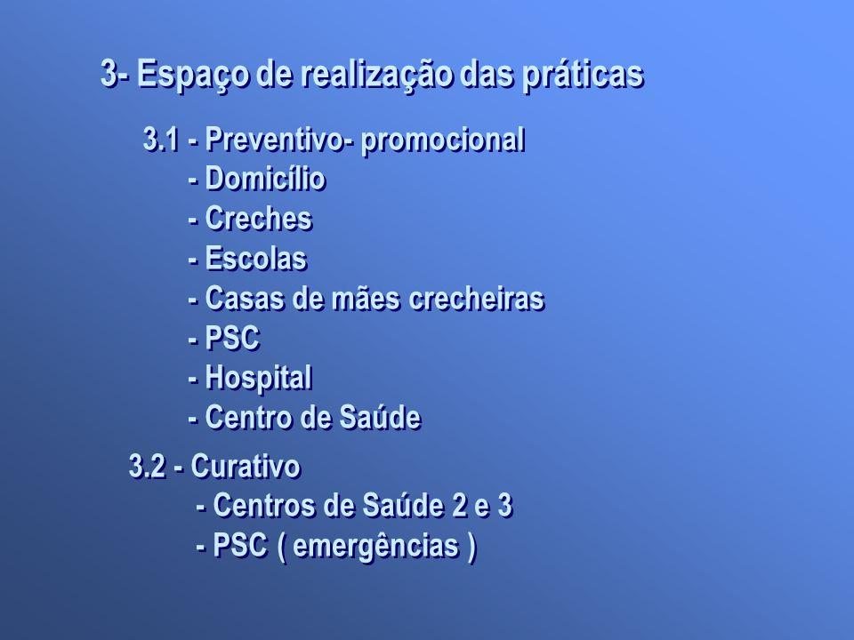 3- Espaço de realização das práticas