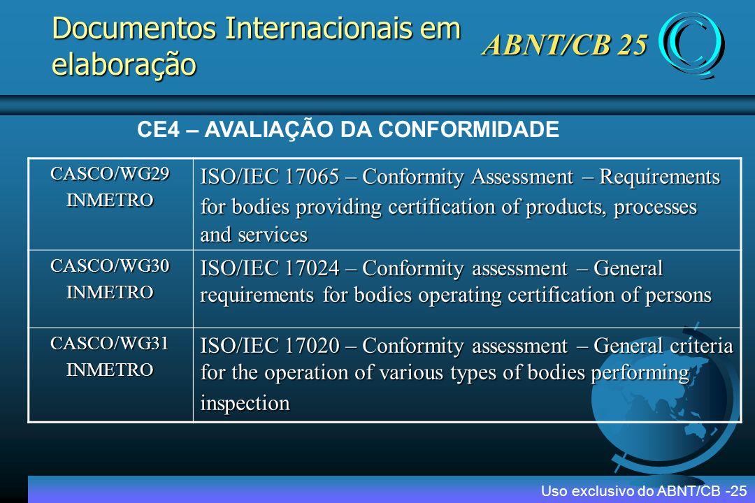 Documentos Internacionais em elaboração