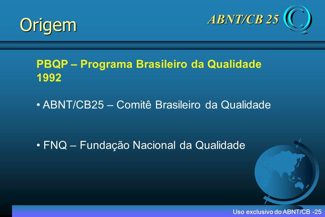 Origem ABNT/CB 25 PBQP – Programa Brasileiro da Qualidade 1992