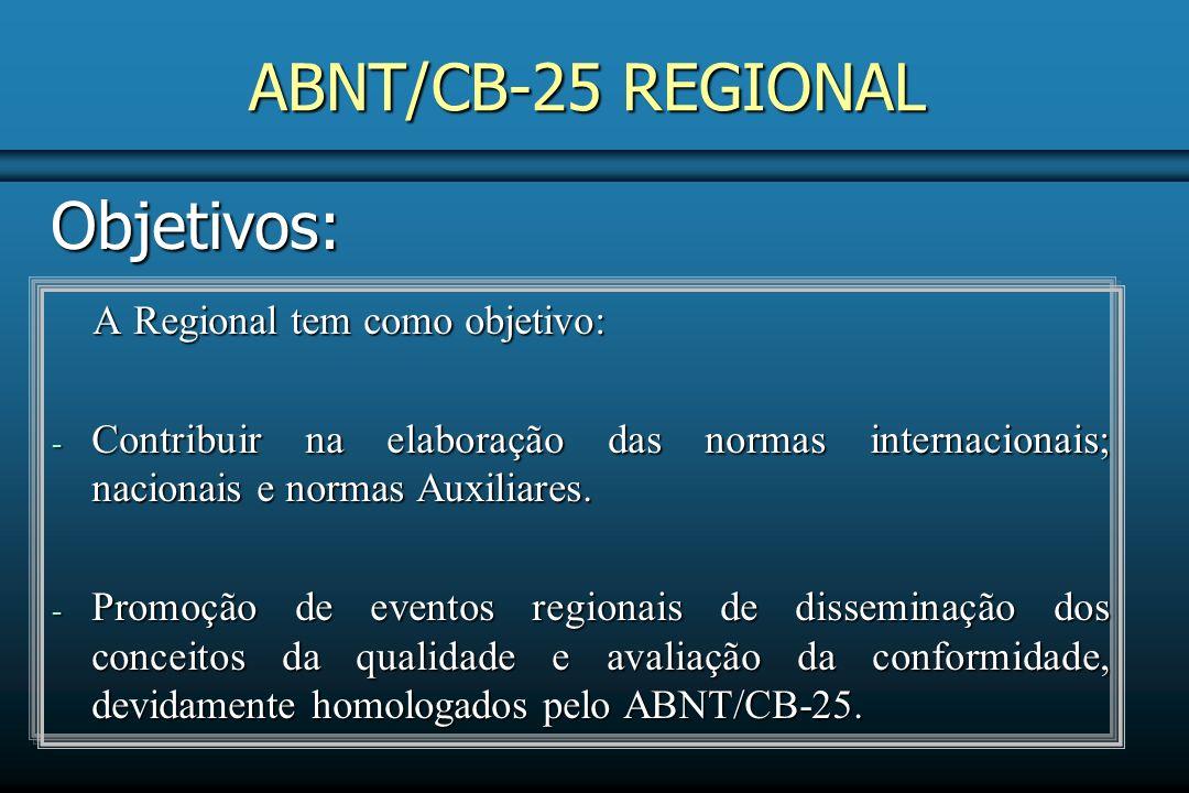 ABNT/CB-25 REGIONAL Objetivos: A Regional tem como objetivo: