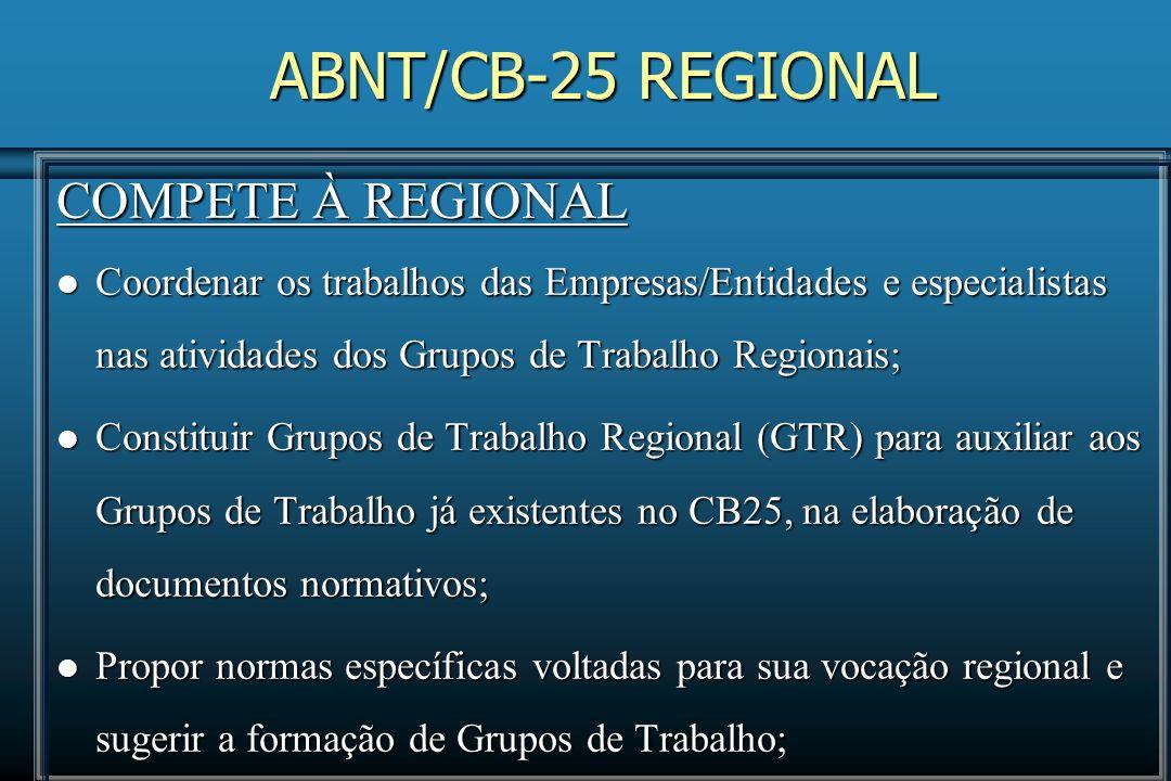 ABNT/CB-25 REGIONAL COMPETE À REGIONAL