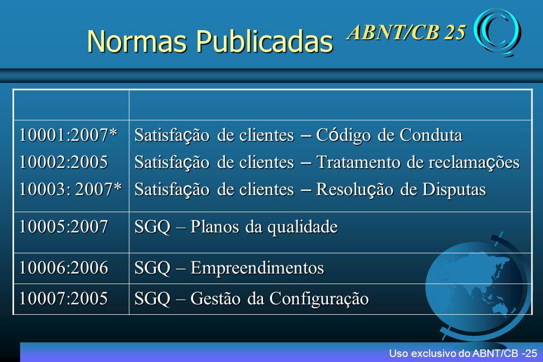 Normas Publicadas ABNT/CB 25 10001:2007* 10002:2005 10003: 2007*