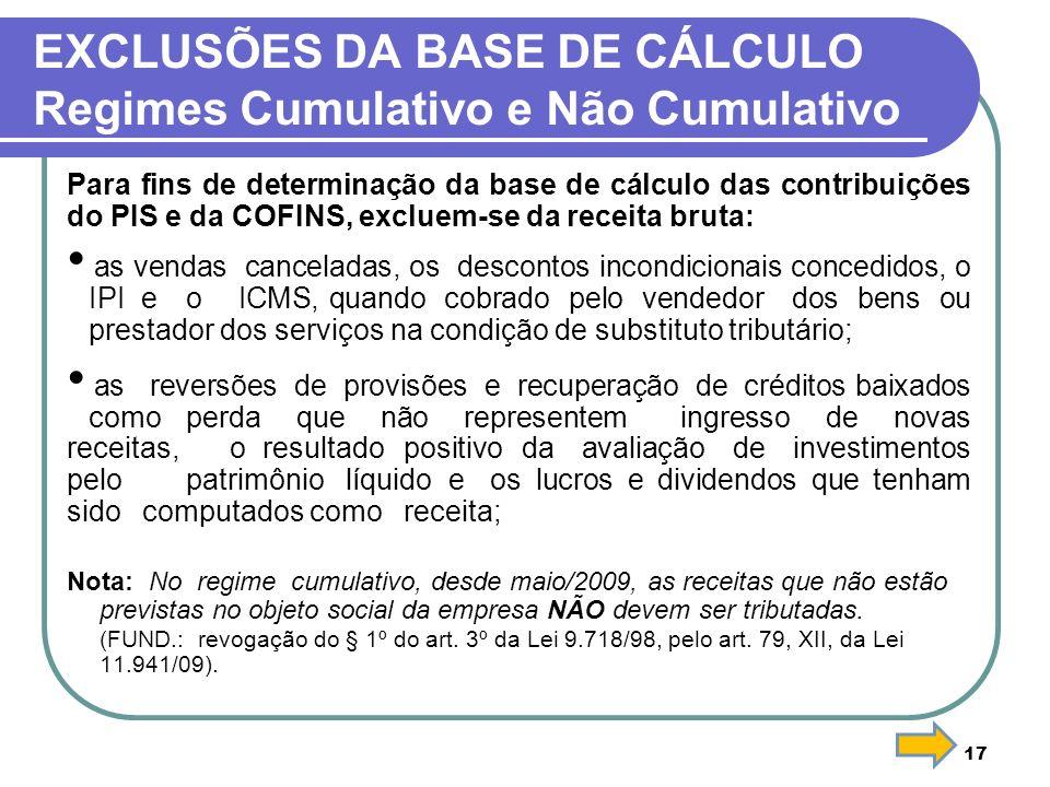 EXCLUSÕES DA BASE DE CÁLCULO Regimes Cumulativo e Não Cumulativo