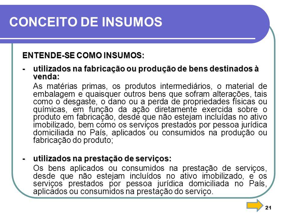 CONCEITO DE INSUMOS ENTENDE-SE COMO INSUMOS: