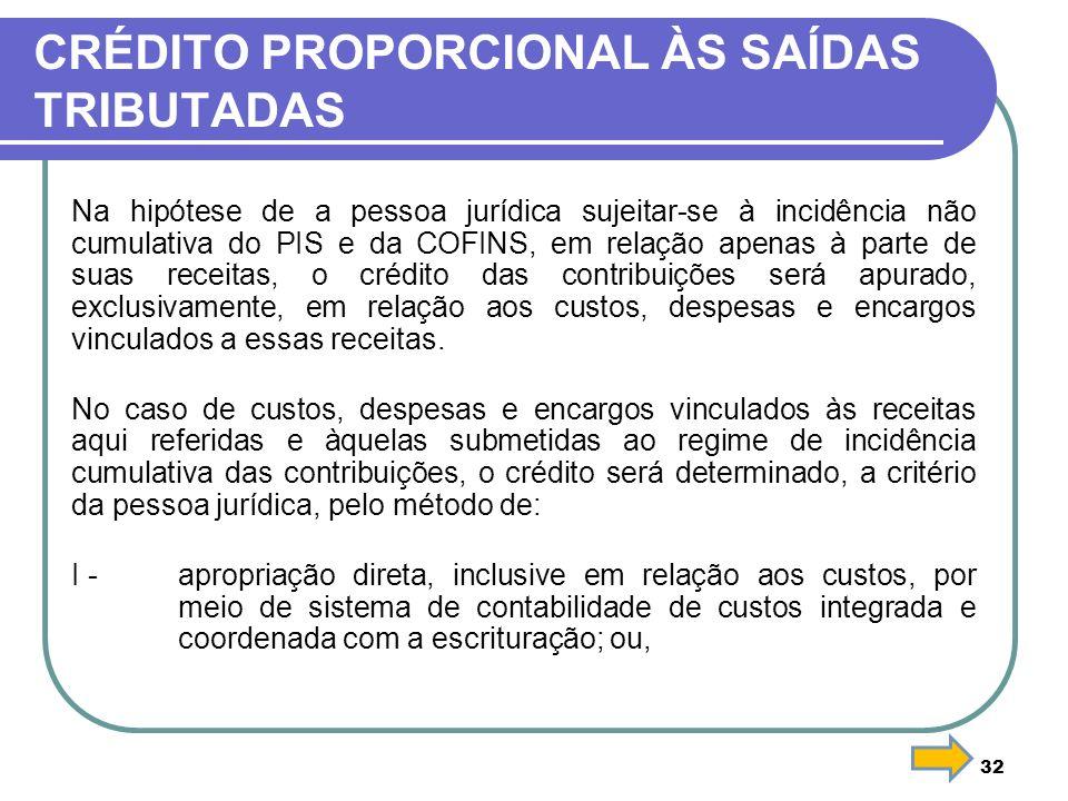CRÉDITO PROPORCIONAL ÀS SAÍDAS TRIBUTADAS