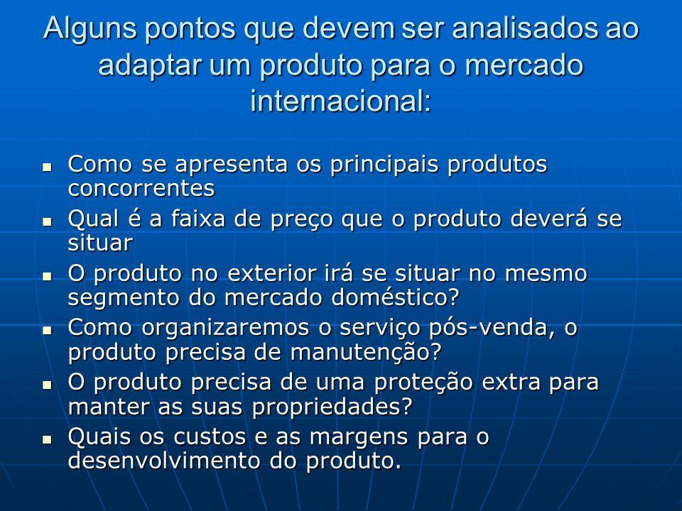 Alguns pontos que devem ser analisados ao adaptar um produto para o mercado internacional: