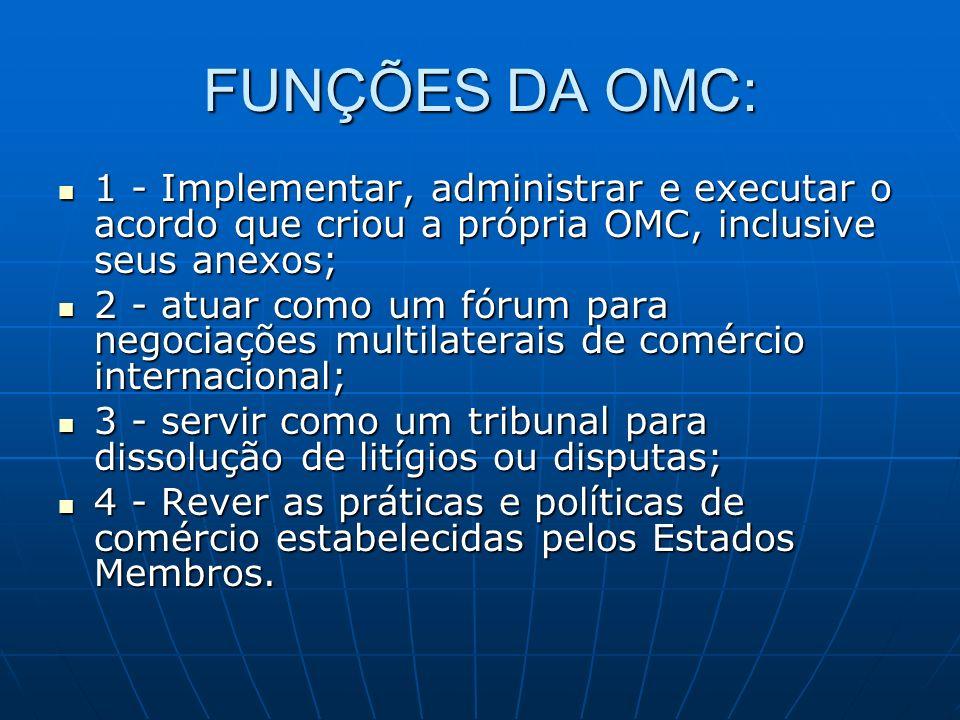 FUNÇÕES DA OMC: 1 - Implementar, administrar e executar o acordo que criou a própria OMC, inclusive seus anexos;