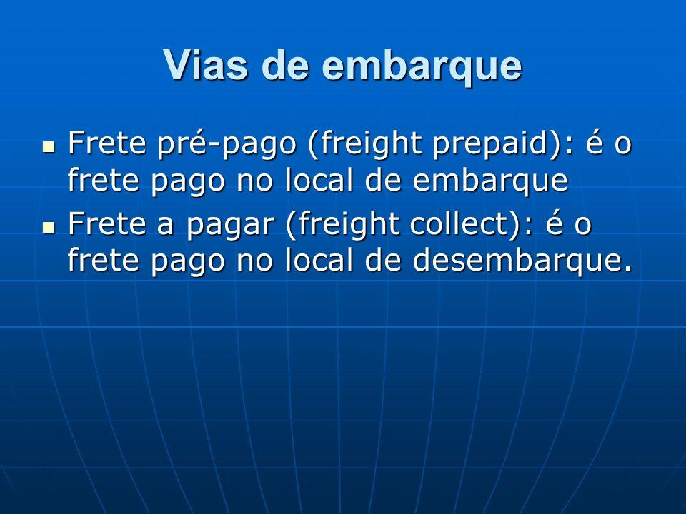 Vias de embarque Frete pré-pago (freight prepaid): é o frete pago no local de embarque.