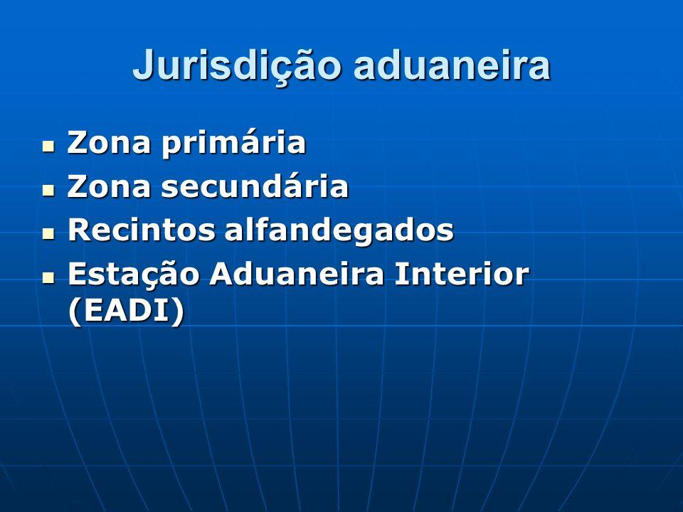 Jurisdição aduaneira Zona primária Zona secundária