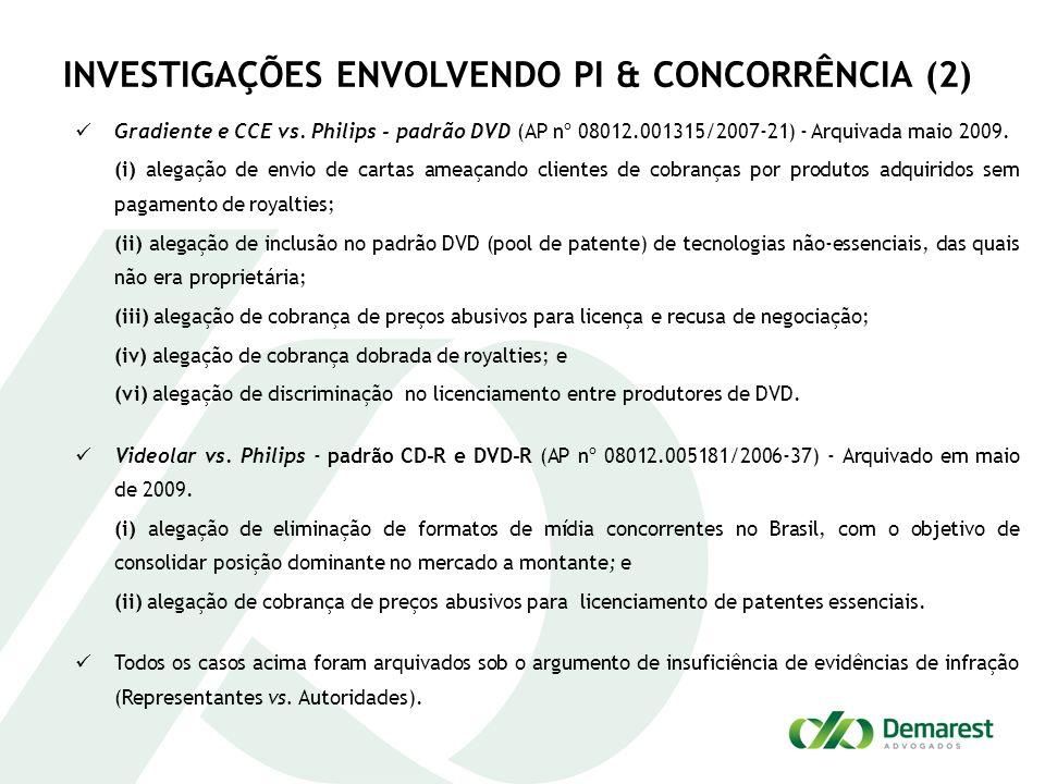 INVESTIGAÇÕES ENVOLVENDO PI & CONCORRÊNCIA (2)