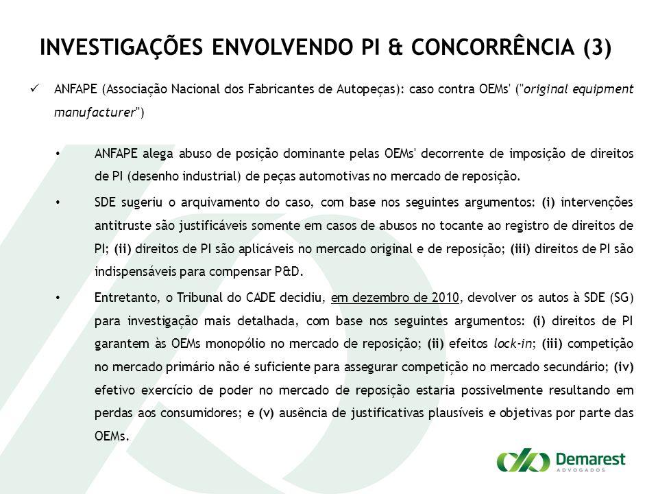 INVESTIGAÇÕES ENVOLVENDO PI & CONCORRÊNCIA (3)