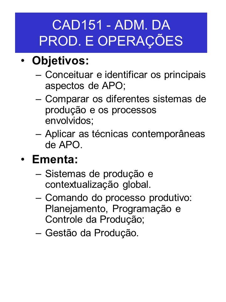CAD151 - ADM. DA PROD. E OPERAÇÕES