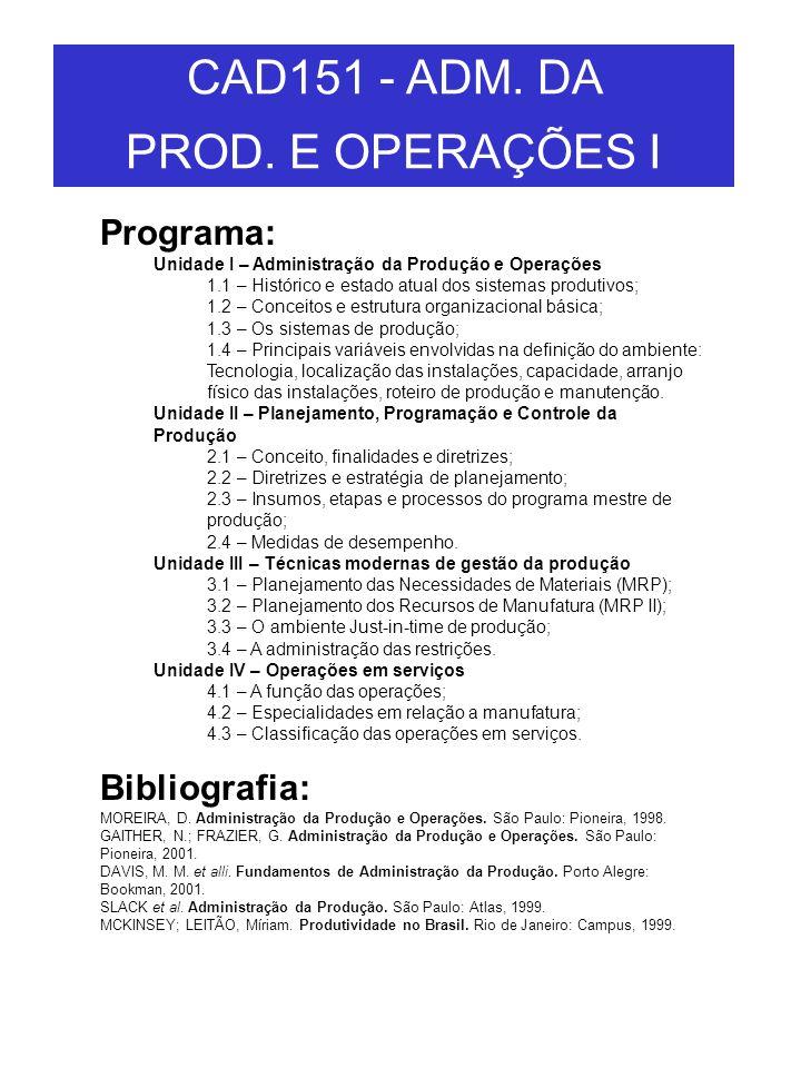 CAD151 - ADM. DA PROD. E OPERAÇÕES I