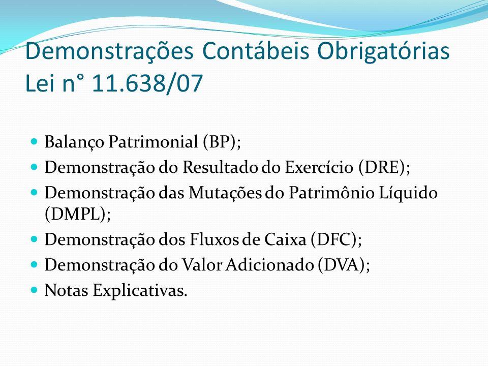 Demonstrações Contábeis Obrigatórias Lei n° 11.638/07