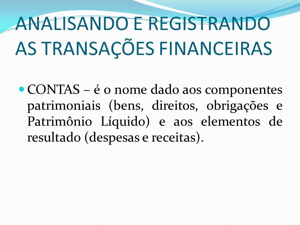 ANALISANDO E REGISTRANDO AS TRANSAÇÕES FINANCEIRAS