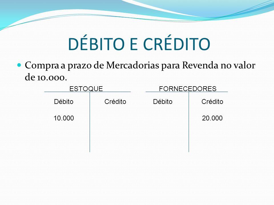 DÉBITO E CRÉDITO Compra a prazo de Mercadorias para Revenda no valor de 10.000. ESTOQUE. FORNECEDORES.
