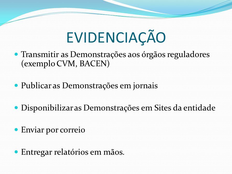 EVIDENCIAÇÃO Transmitir as Demonstrações aos órgãos reguladores (exemplo CVM, BACEN) Publicar as Demonstrações em jornais.