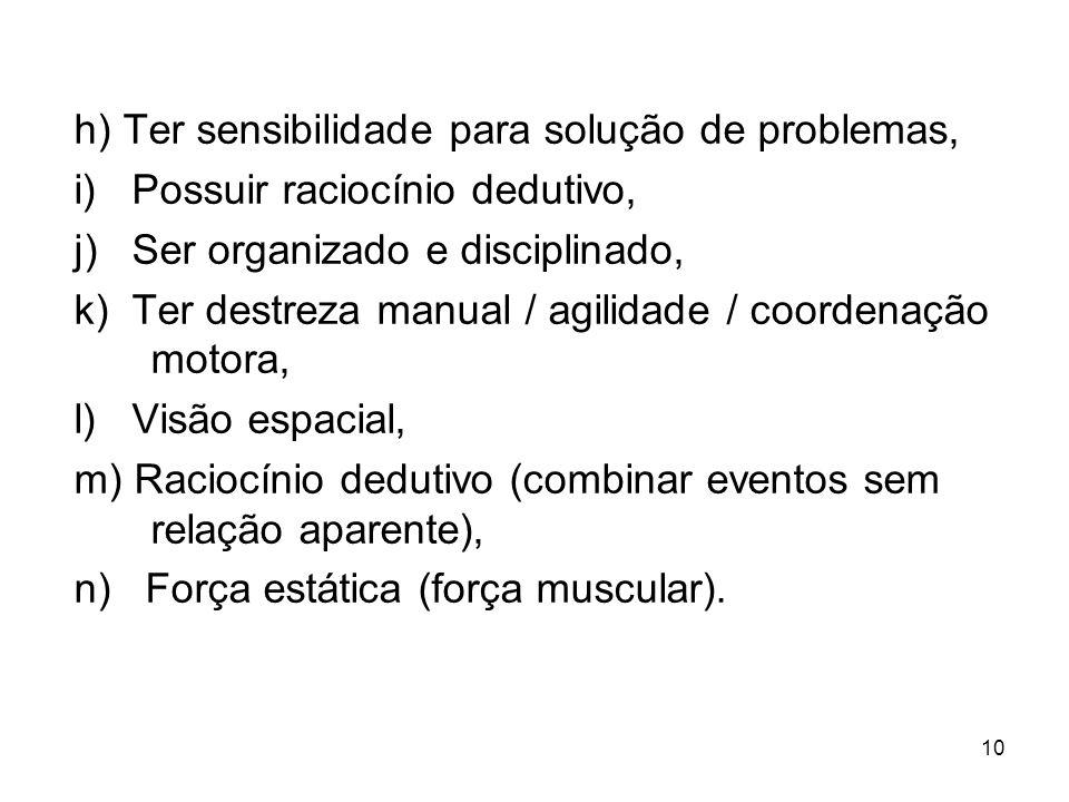 h) Ter sensibilidade para solução de problemas,