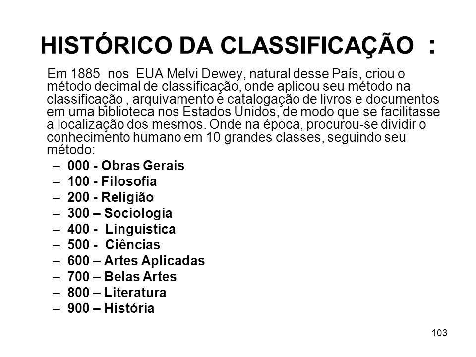 HISTÓRICO DA CLASSIFICAÇÃO :