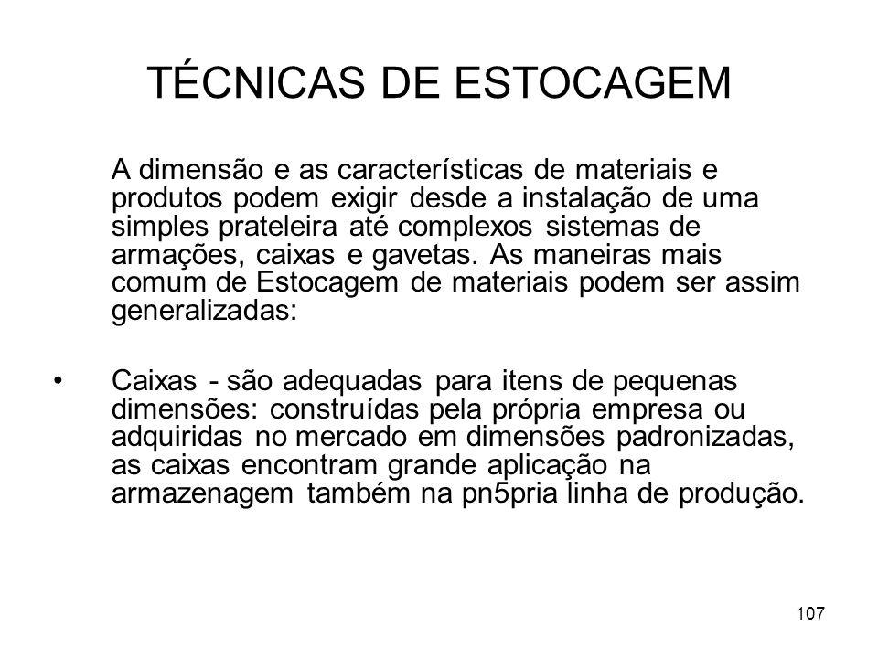 TÉCNICAS DE ESTOCAGEM